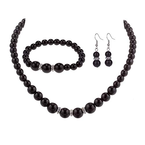 Bodai Faux Pearl Crystal Choker Necklace Earring Bracelet Jewelry Set (black) (Black Necklace Bracelet Earrings)