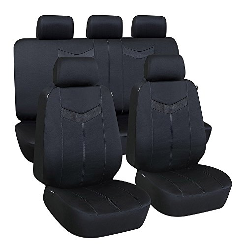 Elantrip 9PC Waterproof Car Seat Cover Full Set Universal Dual-Side Airbag Compatible, Split Bench Cover with 3 Zipper Headrest Opening for Car SUV Truck Van Black