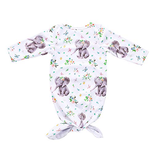 (Infant Baby Boy Girl Animal Clothes Elephant Sleeper Gown Outfits Floral Sleepwear Romper Newborn Cute)