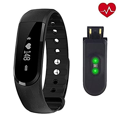 Heart Rate Monitor NewYouDirect Fitness Tracker Smart Bracelet Sport Wristband Smartband Pedometer Activity Tracker Calorie Counter Smart Watch for Apple IOS Android Smartphone(Black)