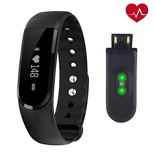 Heart Rate Monitor NewYouDirect Fitness Tracker Smart Bracelet Sport Wristband Smartband Pedometer Activity Tracker Calorie Counter Smart Watch for Apple IOS Android Smartphone(Black) (Black)