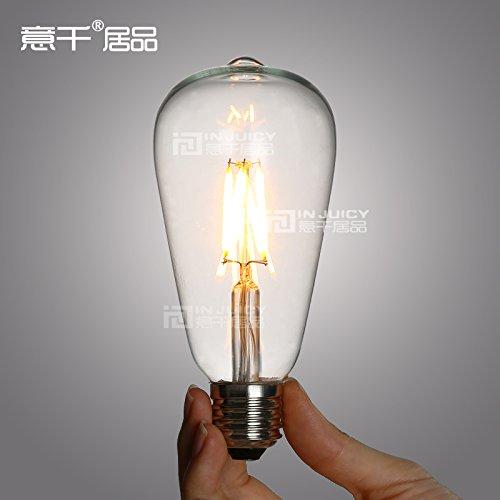 Injuicy ST64 Edison Light Bulbs, 4W Vintage Style LED Filament Light Bulb, 3500K Warm White, 60W Incandescent Equivalent, E26 Medium Base Lamp for Restaurant,Home,Reading Room,Office Energy Saving