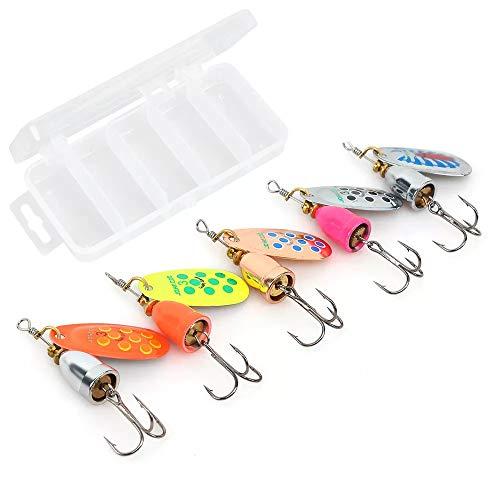AresKo Fishing Lures, Spinner baits Fishing Lure kit 5 Packs, Bass Trout Salmon Hard Metal Spinnerbaits, 8g