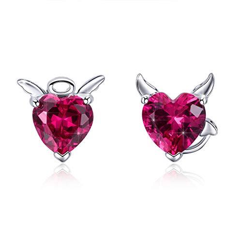BAMOER 925 Sterling Silver Angel Devil Stud Earrings Love Heart Earrings for Women Girls for Her -