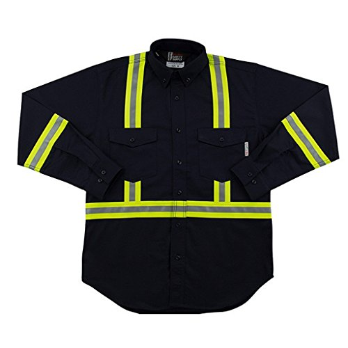 (Flame Resistant FR Reflective Button Shirt 2XL Navy)