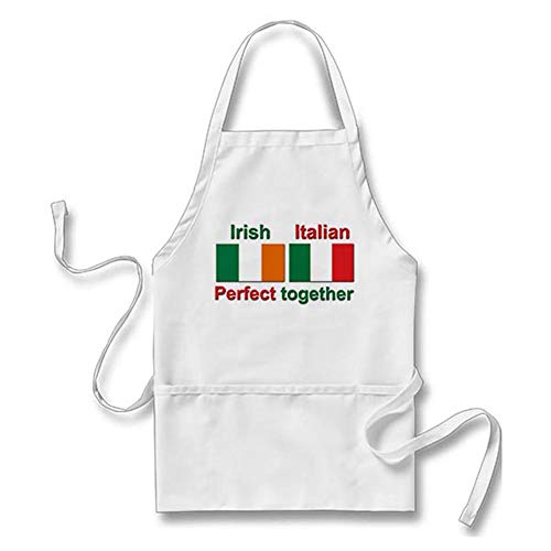 Julyou Italian Irish - Perfect Together! Apron for Women Men, White