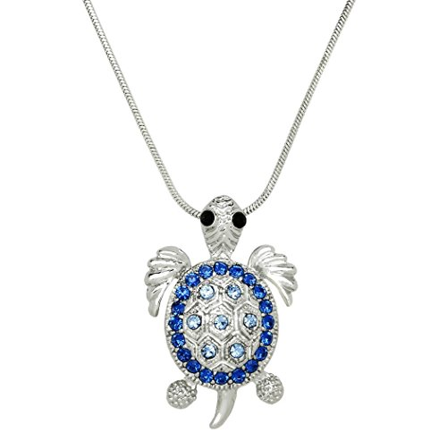 Beautiful Sea Turtle Charm Pendant Necklace Blue Crystals - Turtle Necklace Blue
