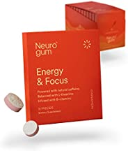 Neuro Gum Nootropic Energy Gum | Caffeine + L-theanine + B Vitamins | Sugar Free + Gluten Free + Non GMO + Veg