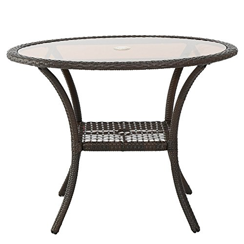 Christopher Knight Home San Pico Outdoor Wicker Dining Table Brown