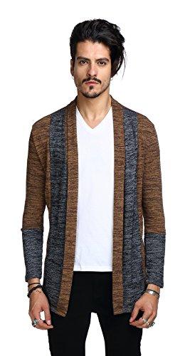 Whatlees Mens Casual Long Designer Splice Wool Blend Slim Fit Open Outwear Cardigan - Price Match Galaxy Golf
