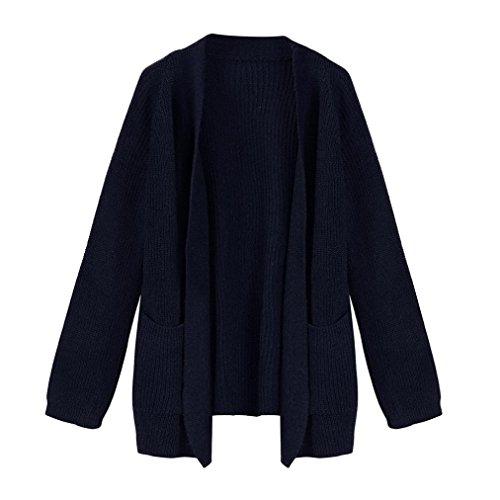 SINMA Women Casual Solid Long Sleeve Winter Long Cardigan Warm Sweater Outwear Coat (Free, (Button Trimmed Sweater)