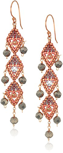 Quartz Trillion Earrings - Miguel Ases Vertical Triple Opaque Swarovski Trillion Dangle Earrings, Rose Gold and Flint