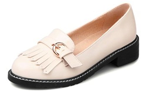 Aisun Women's Sweet Fringe Solid Color Low Cut Loafers apricot bmTXvejVf