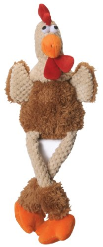 Chicken Dog Toy - goDog Checkers Skinny Rooster With Chew Guard Technology Tough Plush Dog Toy,Brown, Large