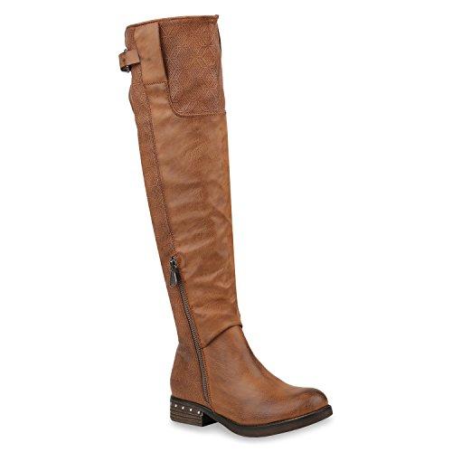 Stiefelparadies Damen Reiterstiefel mit Blockabsatz Nieten Zipper Flandell Hellbraun Carlton