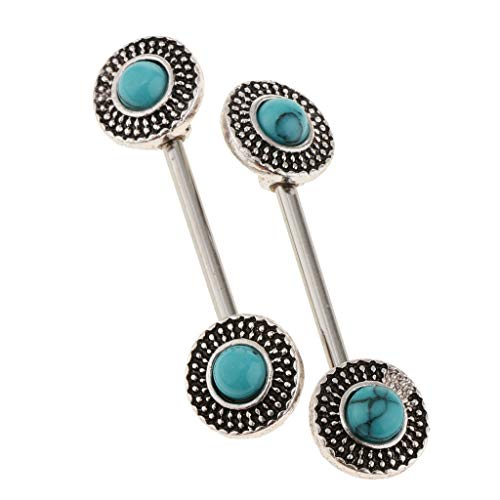 Barbell Replacement Bioplast (2pcs 14G Nipple Barbell Ring Jewelry Piercing Flower Mandala Turquoise 14g (Color - Silver))