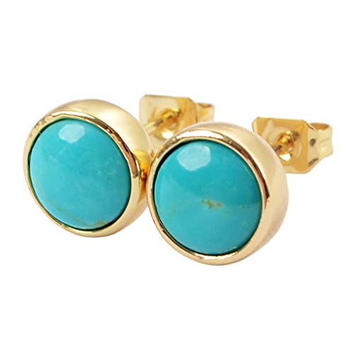 (ZENGORI 1 Pair 9MM Gold Plated Round Natural Turquoise Stud Earrings for Women ZG0258)
