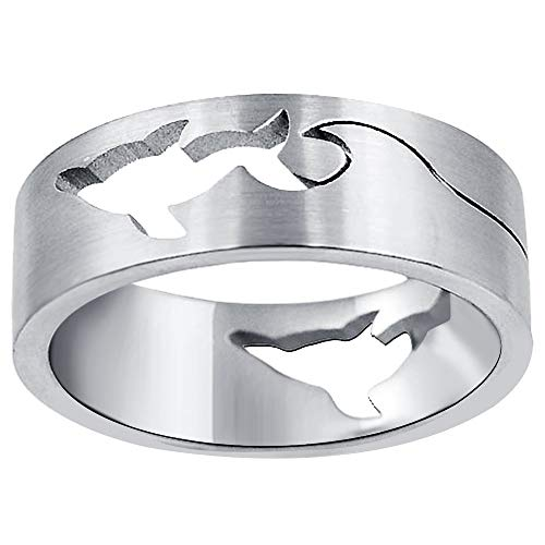 Orchid Jewelry Minimalist Plain Stainless Steel Polished Dolphin Band Ring for Men: Beautiful and Stylish Birthday Gift for Husband: Ring Size-11