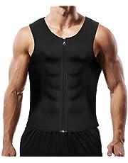 Men Sauna Sweat Vest Weight Loss Waist Trainer Vest for Men, Hot Neoprene Corset Body Shaper with Zipper, Sauna Tank Top Men Gym Workout Shirt Shapewear Slimming Shirt M