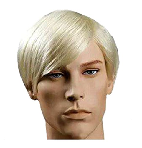 New Handsome Short Straight Men Wig Golden Blonde Color Halloween Party Hair Wig -