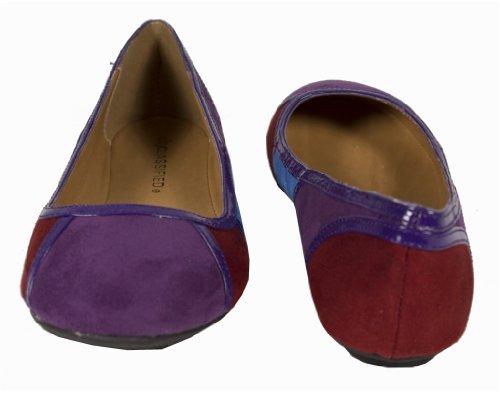 Fenn! Par Ville Classés Ballerines Mignonnes Et Confortables En Colorblock Micro-daim Avec Des Détails De Brevet En Violet Multi Combo