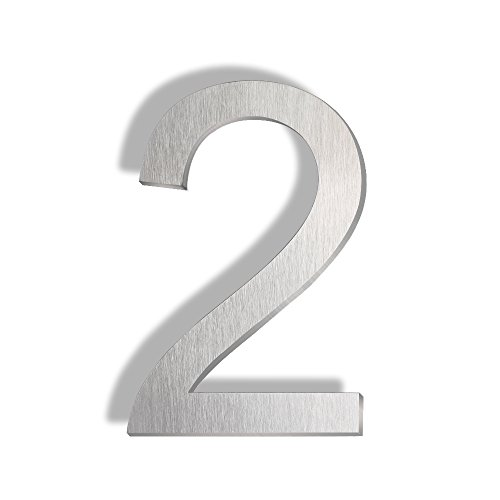 Mellewell Floating Mount House Numbers 5 inch, Stainless Steel Brushed Nickel, Number 2 Two ()