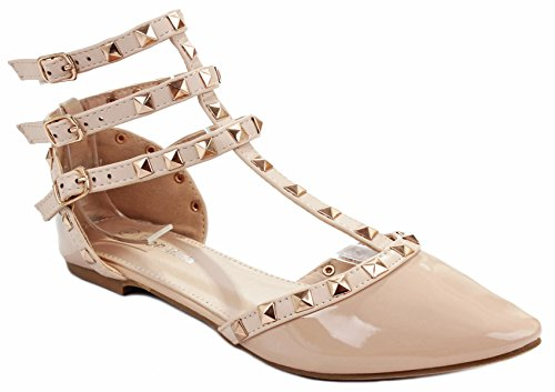 Studded Ankle Cuff (Designer Orange1 Beige Patent T-Strap Rivet Studded Ankle Cuff Pointed Toe Dress Flat Shoes-8)