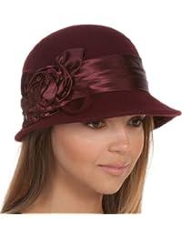 Sakkas Marilyn Vintage Style Wool Cloche Hat with Satin Flower