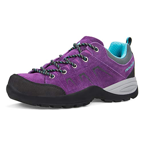 Feetmat Womens Hiking Shoes Leather Low-Top Breathable Outdoor Sports Trail Trekking Climbing Running Walking Sneakers Purple 8