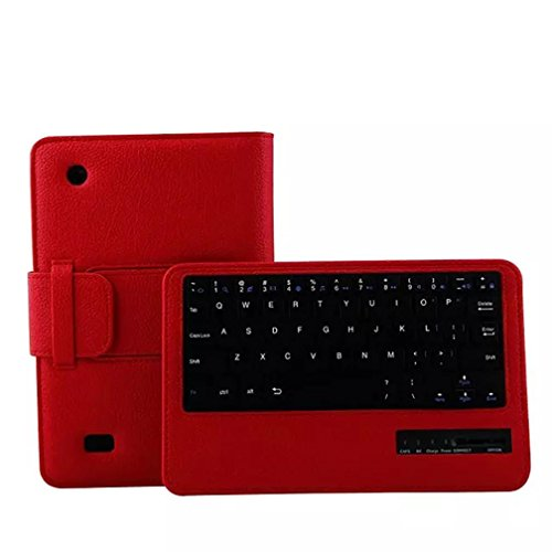 Coohole Fashion Bluetooth Keyboard Tablet Leather Protective Case Cover For Kindle Fire HD 7 2015 7Inch (Red)