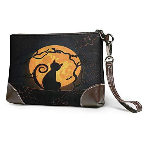 Women's Leather Zipper Wristlet Cat Moon Sky Bats Cellphone Card Wallets Clutch Holder Purse