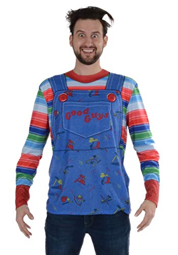 (Faux Real Men's Chucky Long Sleeve Tee Shirt, Multi)