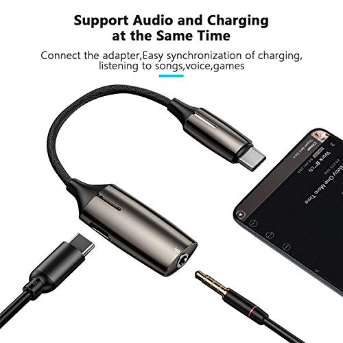 Vcddom Upgraded 2-in-1 USB C to 3.5mm Headphones Adapter with PD Fast Charging Compatible for Pixel 4 3 2 XL, Galaxy S20 S10 Note10, iPad Pro 2018, Essential Phone and More USB C Phone (Black)