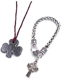 Irish Kilkenny Marble: Shamrock Necklace and Celtic Cross Bracelet…
