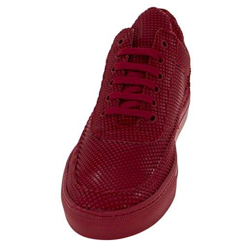 Baskets Homme Bas Chaussures Modèle Phil Détail Pyramide Rouge Cuir Véritable