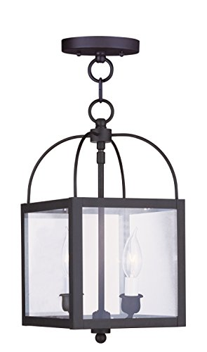 Livex Lighting 4041-04 Milford 2-Light Convertible Hanging Lantern/Ceiling Mount, Black
