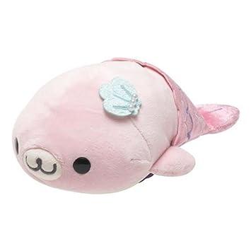 Lindo muñeco de peluche foca bebé sirena rosa Mamegoma de San-X