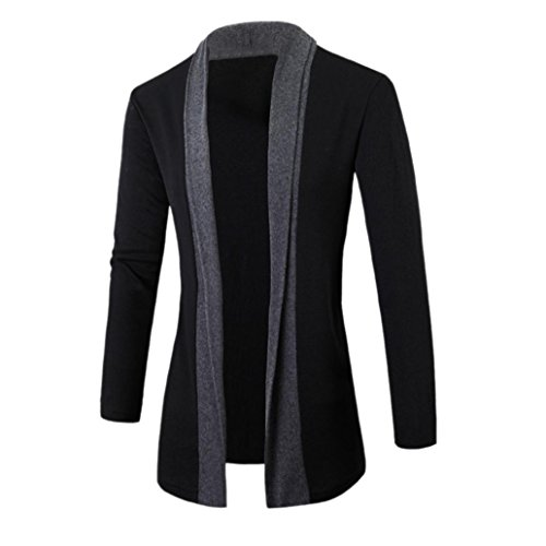 Han Shi Men Cardigan, Fashion Stylish V Neck Jacket Slim Long Sleeve Casual Business Coat (M, Dark Gray)