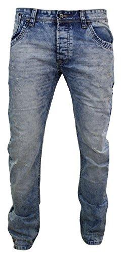Herrenjeans Blau Schäbiges Aussehen Straight Cut Eng Zerrissenes Design