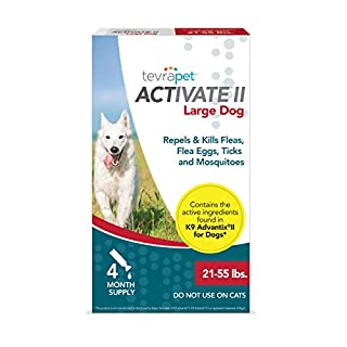 TevraPet Activate II Flea and Tick Prevention for Dogs – 4 Months Topical Flea and Tick Treatment and Control, 21-55 lbs