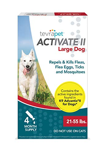 TevraPet Activate II Flea and Tick Prevention for Dogs - Topical, 21-55 Lbs (Best Repellent For Ticks On Dogs)
