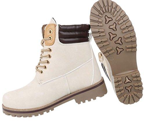 Gefütterte Winter Schnallen Damen Beige Hosenstiefel Stiefel Blockabsatz Stiefelette gefüttert Stiefelette Schnee Schuhcity24 Stiefel Stiefel qd8wt5qC