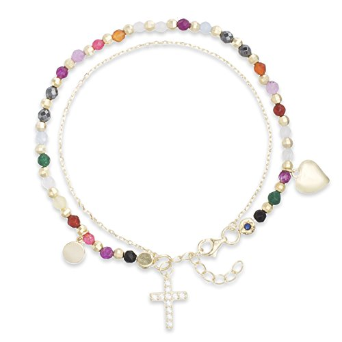 "WILLOWBIRD Petite 7"" Cross Heart CZ Charm and Multi Colored Beaded Adjustable Double Layered Bracelet for Women in Yellow Gold Plated 925 Sterling Silver (Cross Yellow)"