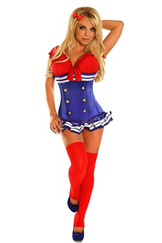 Pin Up Girl Costumes Corset - Daisy Corsets Top Drawer 3 PC Pin-Up Sailor Girl Sexy Costume