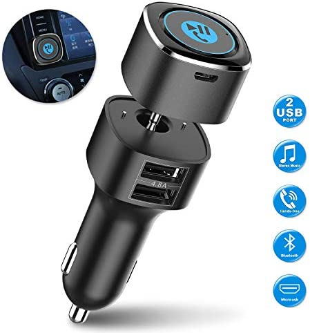 Bluetooth Receiver for Car, Esky Bluetooth 5.0 Hands-Free Car Kits/Bluetooth Aux Car Audio Adapter with Dual 2.4A USB Port Car Charger, Wireless Car Kits Audio Stereo - US Patent No. US 10,272,845 B2