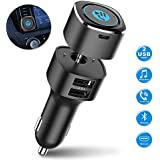 Bluetooth Receiver for Car, ELECWAVE Bluetooth 4.2 Hands-Free Car Kits/Bluetooth Aux Car Audio Adapter with Dual 2.4A USB Port Car Charger, Wireless Car Kits for Home/Car Audio Stereo, 3.5mm AUX Input