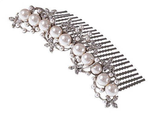 Alilang Silver Tone Clear Crystal Rhinestone Floral Stamen Simulated Pearl Bridal Hair Comb