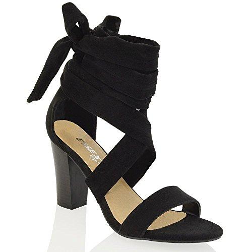 Essex Glam Gamuza Sintética Zapatos de tacón cuadrado con cordones para atar al tobillo Negro Gamuza Sintética