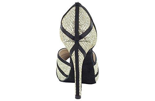 Scarpa da ballo donna in tessuto paillettes champagne e raso nero con plateau tacco stiletto cm 10,5