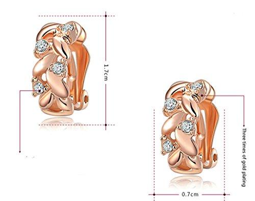 AMDXD Bijoux Plaqué Or Femme Boucles D'oreilles Or Rose Rond Cubic Zirconia Feuille Forme 1.7*0.7cm